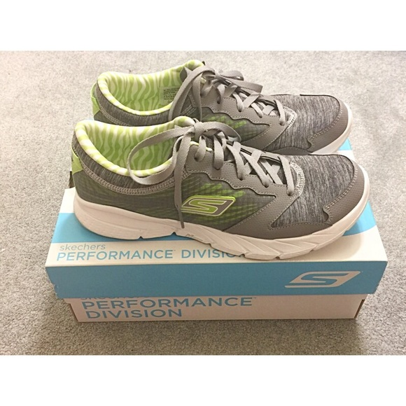 Skechers Grey Lime Green Gofit Sneakers