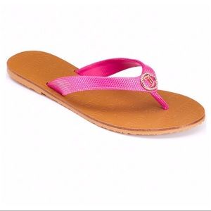JUICY COUTURE PINK RHINESTONE THONG SANDALS