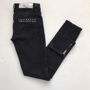 Blank NYC Denim - Blank NYC Black ankle zip skinny jeans studs XS 25