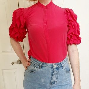 Tailor Vintage Tops - Vintage silk ruffle button up blouse💋add on💋