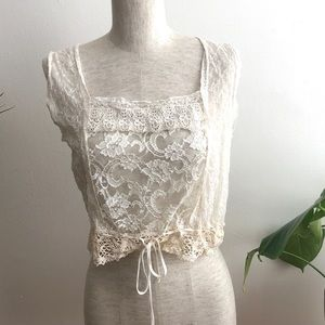 Topshop Tops - vintage cream lace crop top