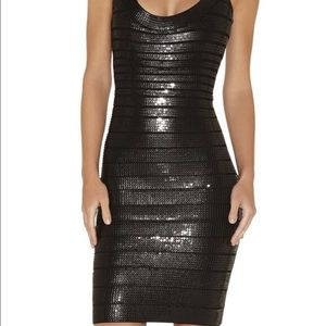 Herve Leger Dresses & Skirts - Herve leger sequin and leather disc dress