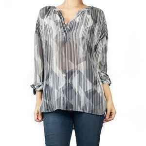 Vince camuto sheer print top