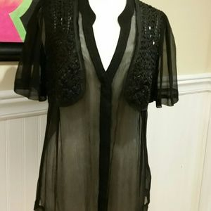 Tops - Sheer snap front shirt with sequin front