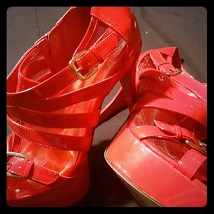 PLH Bows & Laces Shoes - Red High Heels