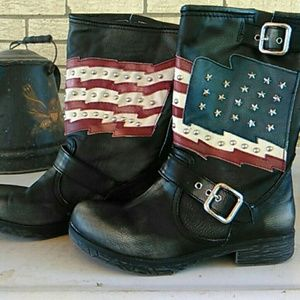 White Mountaineering Shoes - American flag cowgirl boots
