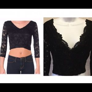 Aqua Tops - 🆕 black lace crop top club wear women's large NWT