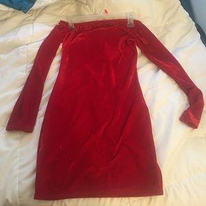 Red velvet, off the shoulder dress.