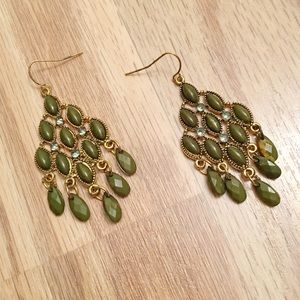 NWOT green chandelier earrings