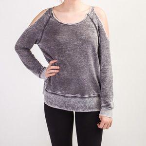 Allen Allen Tops - Allen Allen sz XL open shoulder gray sweatshirt