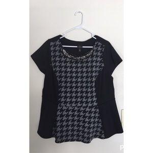 Black Peplum Top w/Grey Herringbone & Jewel Collar