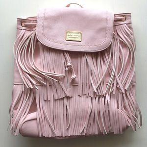 Betsey Johnson Handbags - 💘Betsey Johnson Pale Pink Fringe Backpack Luggage