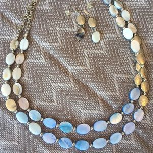 🔸Donated Necklace & earring set w/gift bag blue