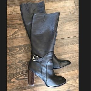 Sam Edelman Lucy Black Leather Knee High Boot