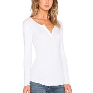 Monrow Tops - NWOT MONROW long sleeve rib white Henley size M