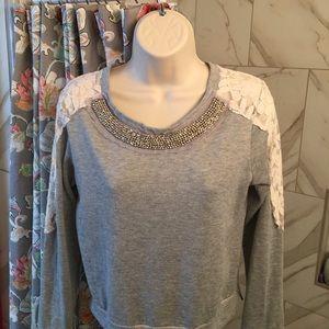 American Rag Tops - Cotton lace embellished sweatshirt