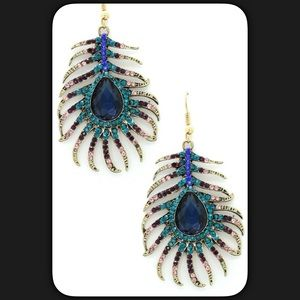 Boutique Jewelry - 🆕Peacock Feather Pave Earrings