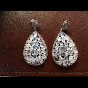 Jewelry - Sterling silver moon stone earrings.