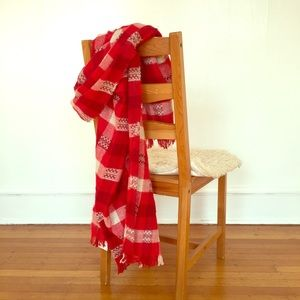 Zara red and white woven blanket scarf.