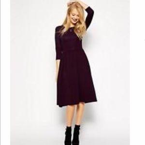 ASOS Dark Purple Textured Midi Dress 0