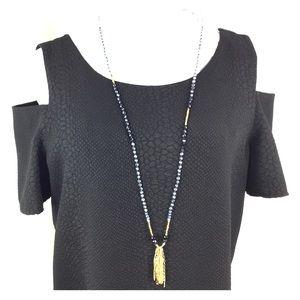 Cooper & Ella Dresses & Skirts - Cooper & Ella Fringe Shoulder Cutout Sleeve Dress