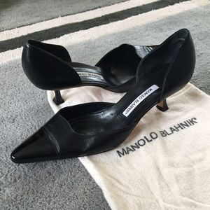 Manolo Blahnik Shoes - RARE low heel pointed toe patent d'Orsay pump! EUC