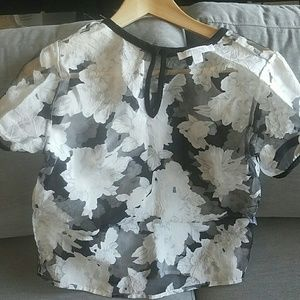 Tops - Piperlime Collection B&W Sheer Floral Top