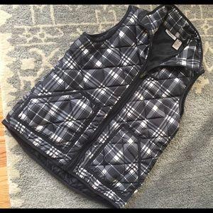 "Fresh Jackets & Blazers - ""Fresh"" brand Black & Ivory Plaid Vest"