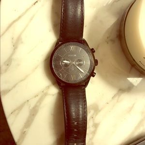 Men's fossil black leather watch