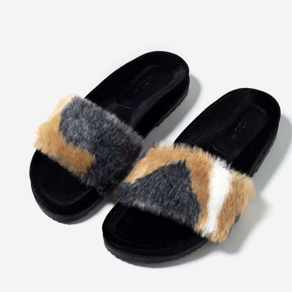 cd31fcafdfe ZARA Faux Fur Slides