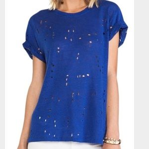 IRO Tops - Iro t shirt with holes in blue