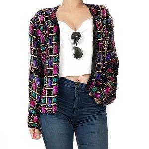 Vintage Jackets & Blazers - Vintage beaded print jacket