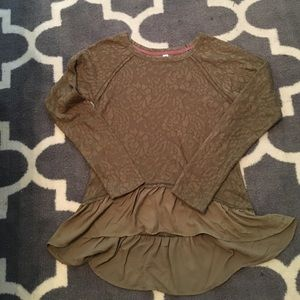 NWT olive green lace and chiffon top