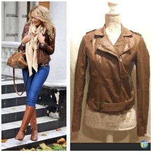 Light brown faux leather zip up jacket with belt