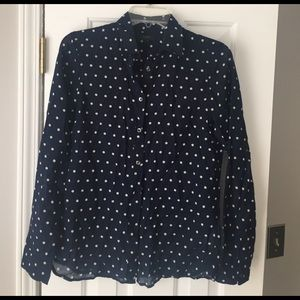 J. Crew Navy Polka Dot Button down