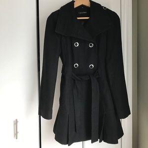 Calvin Klein pleated peacoat style winter coat