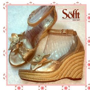 Sofft Shoes - Sofft gold flower espadrille sandal wedges
