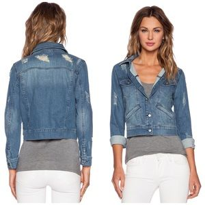 The Kooples Jackets & Blazers - The Kooples Destroyed Denim Jacket in Blue