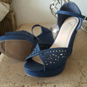 Sbicca Shoes - Blue ankle strap wedges