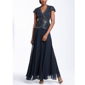 J Kara Dresses & Skirts - J Kara Navy Chiffon Embellished Gown