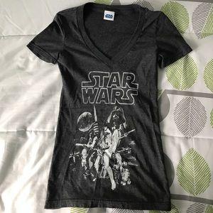Star Wars Tops - Gray Star Wars V Neck Tee