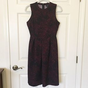 NWOT Who What Wear Black and Burgundy Skater Dress