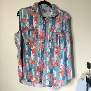 Vintage Floral Denim Top