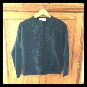 Sweaters - Vintage Beaded Classic Black Cardigan