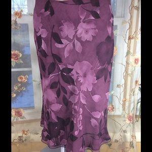 Randolph Duke 100% Silk Floral Print Skirt~New!