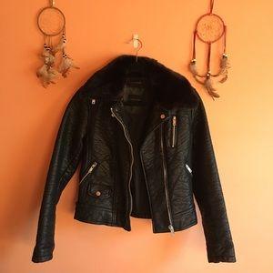 Zara faux fur collar leather jacket