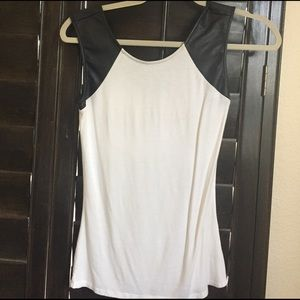 Angl white top with black pleather detail size S