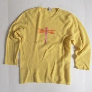 J. Crew Sweaters - LN J. Crew 100% cashmere yellow dragonfly sweater.