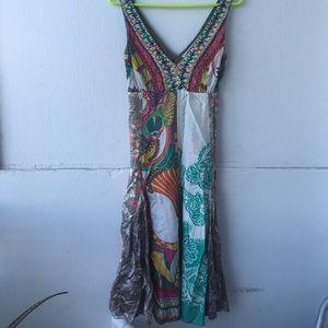 Derhy Kids Dresses & Skirts - Womans L DERHY dress beads bright colors tie waist