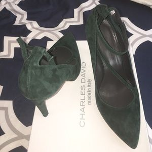 Charles David Shoes - Forest green suede pumps